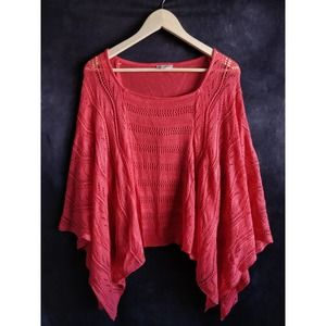 John Paul Richard Coral Knit Crochet Sweater L